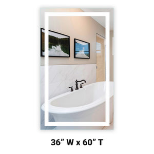 "Front-Lighted LED Bathroom Vanity Mirror: 36"" Wide x 60"" Tall - Rectangular - Wall-Mounted"
