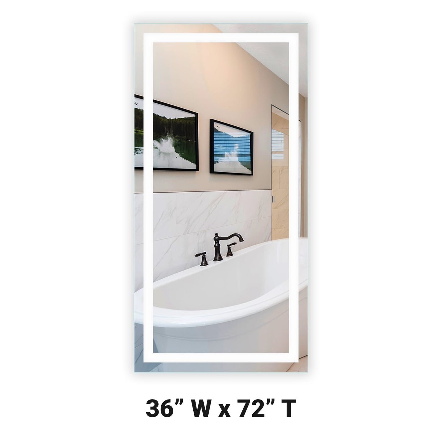 Front Lighted Led Bathroom Vanity Mirror 36 X 72 Rectangular Mirrors Marble