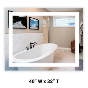 "Front-Lighted LED Bathroom Vanity Mirror: 40"" Wide x 32"" Tall - Rectangular - Wall-Mounted"