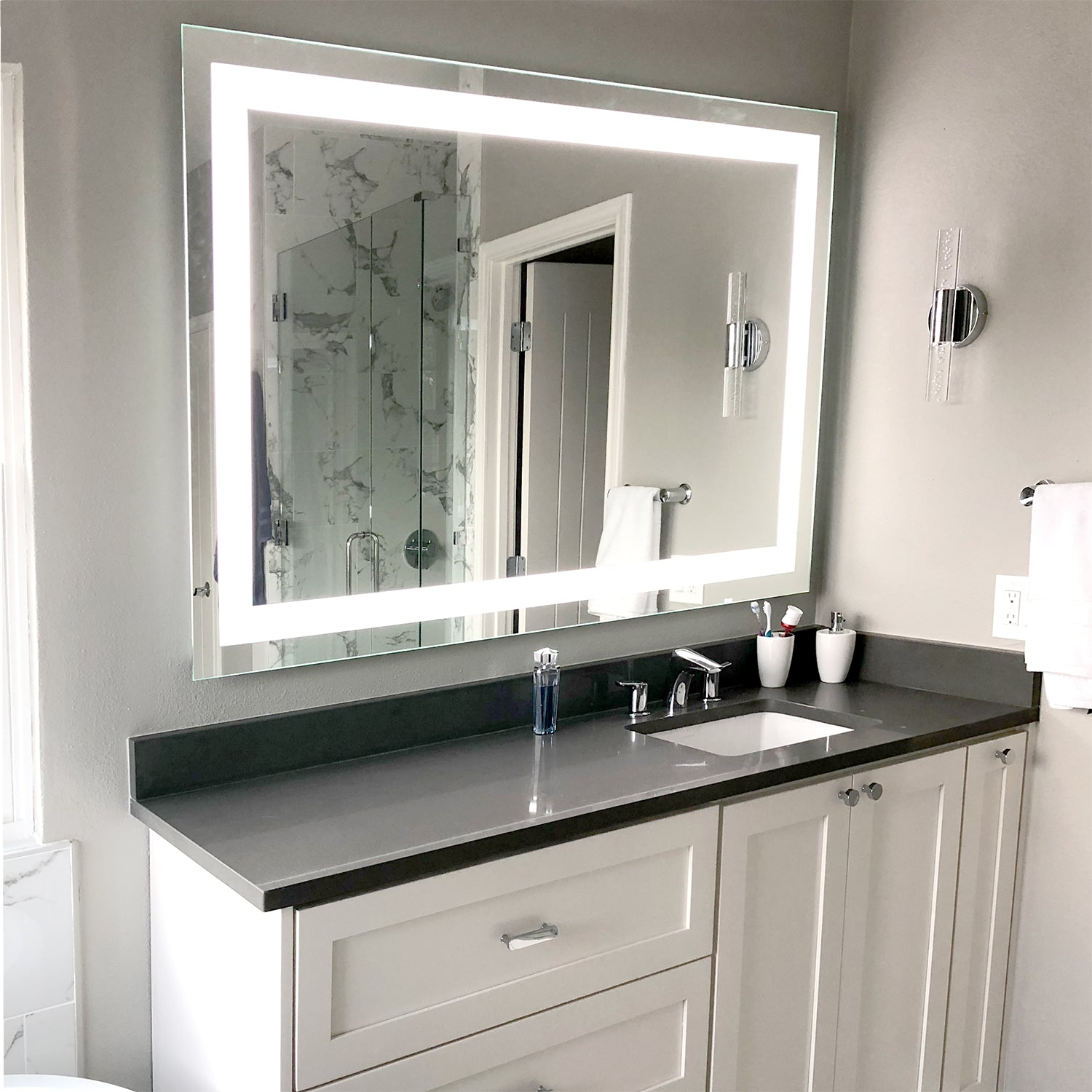 Front Lighted Led Bathroom Vanity Mirror 40 X 32 Rectangular Mirrors Marble