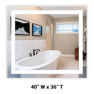 "Front-Lighted LED Bathroom Vanity Mirror: 40"" Wide x 36"" Tall - Rectangular - Wall-Mounted"