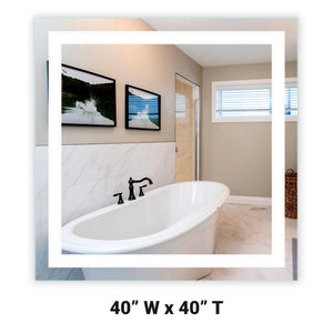 "Front-Lighted LED Bathroom Vanity Mirror: 40"" Wide x 40"" Tall - Square - Wall-Mounted"