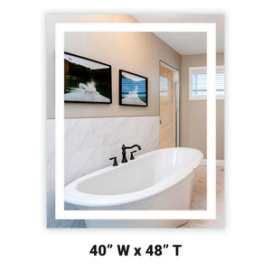 "Front-Lighted LED Bathroom Vanity Mirror: 40"" Wide x 48"" Tall - Rectangular - Wall-Mounted"