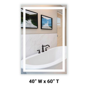 "Front-Lighted LED Bathroom Vanity Mirror: 40"" Wide x 60"" Tall - Rectangular - Wall-Mounted"