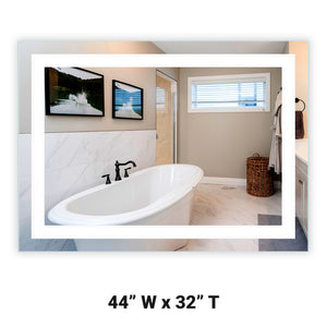 "Front-Lighted LED Bathroom Vanity Mirror: 44"" Wide x 32"" Tall - Rectangular - Wall-Mounted"
