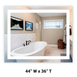 "Front-Lighted LED Bathroom Vanity Mirror: 44"" Wide x 36"" Tall - Rectangular - Wall-Mounted"