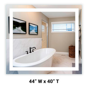 "Front-Lighted LED Bathroom Vanity Mirror: 44"" Wide x 40"" Tall - Rectangular - Wall-Mounted"