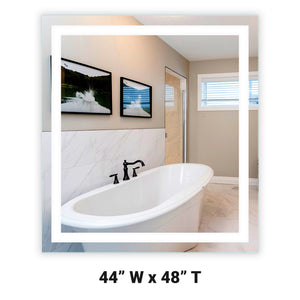 "Front-Lighted LED Bathroom Vanity Mirror: 44"" x 48"" - Rectangular - Wall-Mounted"