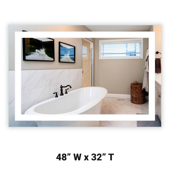 Front-Lighted LED Bathroom Vanity Mirror: 48