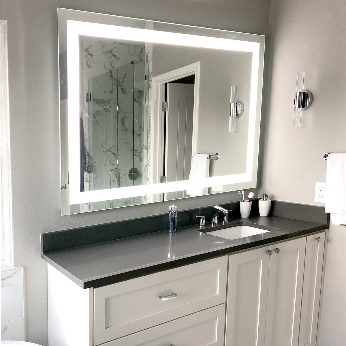 Picture of: Front Lighted Led Bathroom Vanity Mirror 48 X 32 Rectangular Mirrors Marble