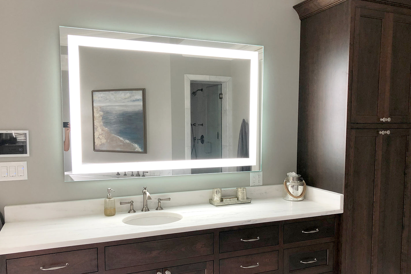 Front Lighted Led Bathroom Vanity Mirror 48 X 32 Rectangular Mirrors Marble