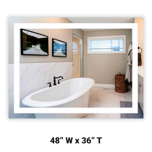 "48"" Wide x 36"" Tall - Front-Lighted LED Bathroom Vanity Mirror - Rectangular - Wall-Mounted"