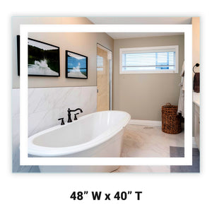 "Front-Lighted LED Bathroom Vanity Mirror: 48"" Wide x 40"" Tall - Rectangular - Wall-Mounted"