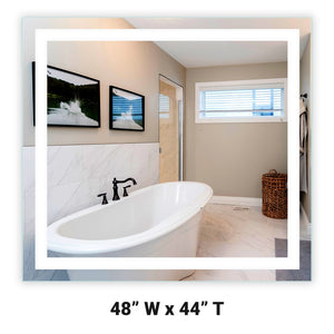"Front-Lighted LED Bathroom Vanity Mirror: 48"" Wide x 44"" Tall - Rectangular - Wall-Mounted"