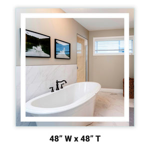 "Front-Lighted LED Bathroom Vanity Mirror: 48"" Wide x 48"" Tall - Square - Wall-Mounted"