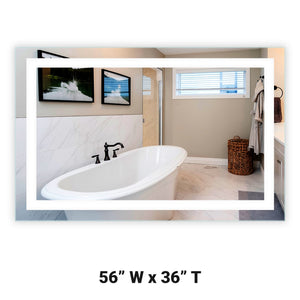 "Front-Lighted LED Bathroom Vanity Mirror: 56"" Wide x 36"" Tall - Rectangular - Wall-Mounted"