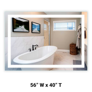 "Front-Lighted LED Bathroom Vanity Mirror: 56"" Wide x 40"" Tall - Rectangular - Wall-Mounted"