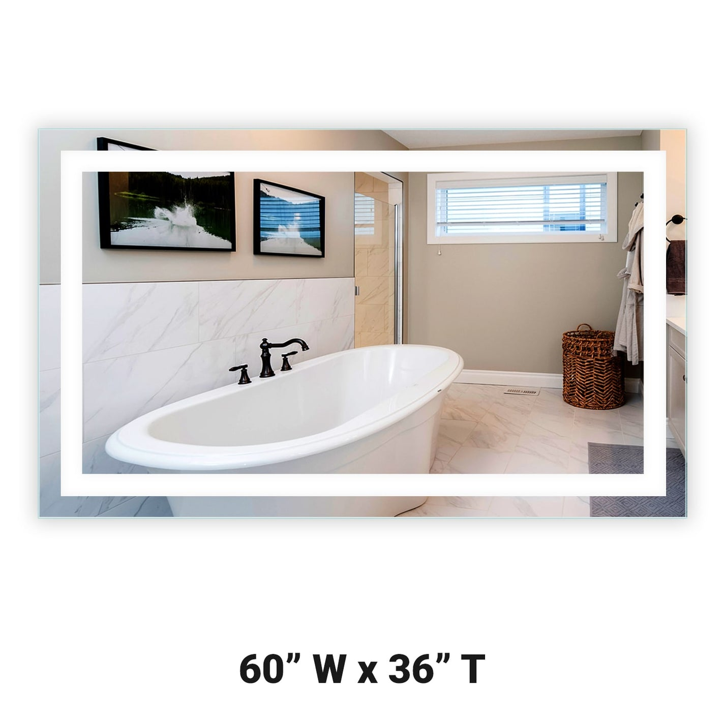 Front Lighted Led Bathroom Vanity Mirror 60 X 36 Rectangular