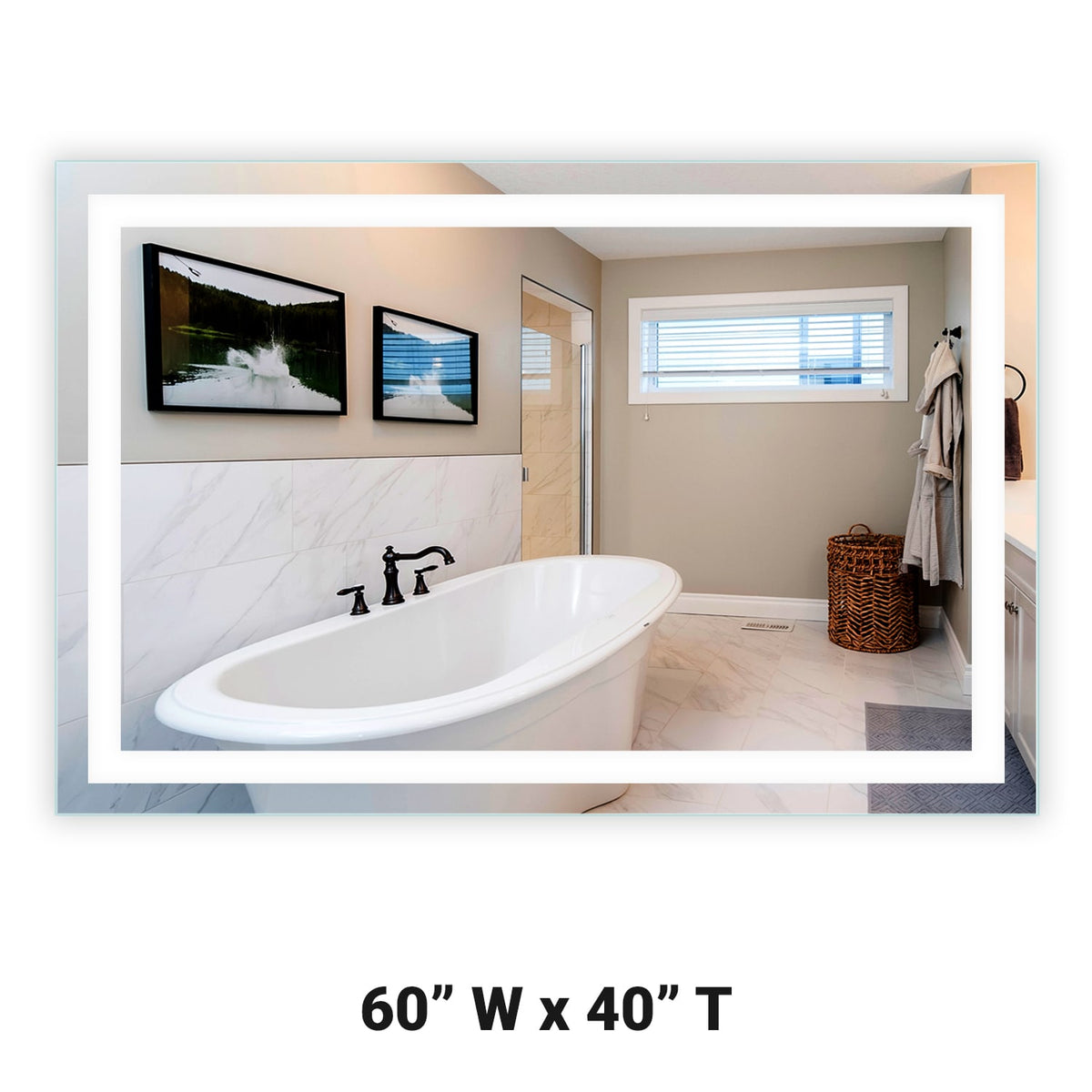 "Front-Lighted LED Bathroom Vanity Mirror: 60"" x 40 ..."