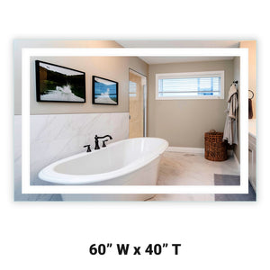 "60"" Wide x 40"" Tall - Front-Lighted LED Bathroom Vanity Mirror - Rectangular - Wall-Mounted"