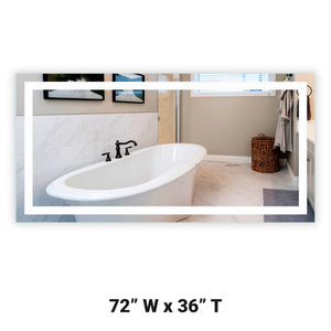 "Front-Lighted LED Bathroom Vanity Mirror: 72"" Wide x 36"" Tall - Rectangular - Wall-Mounted"
