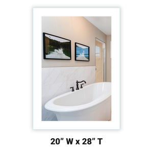 "Side-Lighted LED Bathroom Vanity Mirror: 20"" x 28"" - Rectangular - Wall-Mounted"