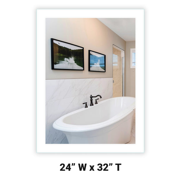 Side-Lighted LED Bathroom Vanity Mirror: 24