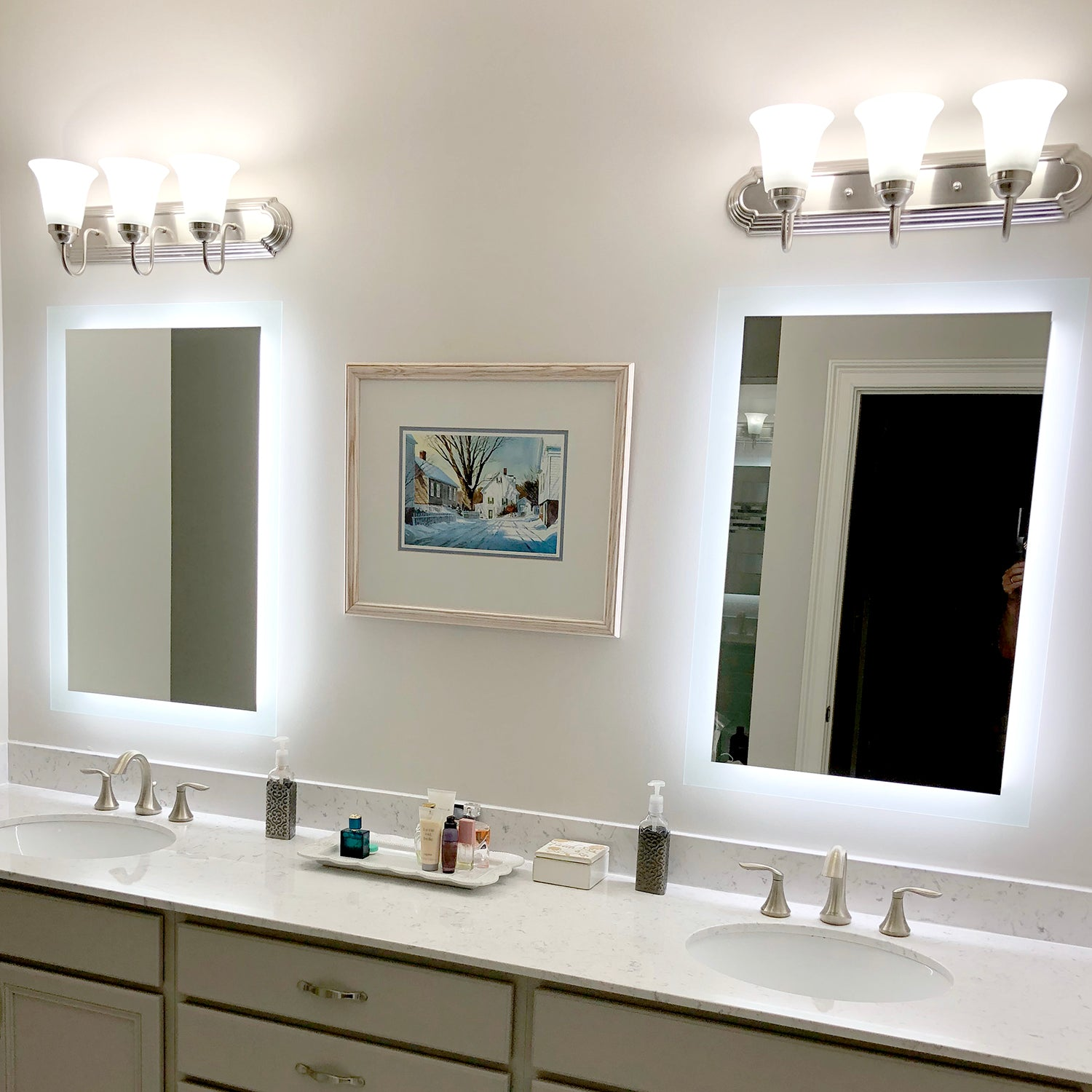 Side Lighted Led Bathroom Vanity Mirror 28 X 36 Rectangular Mirrors Marble