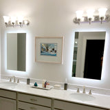 "Side-Lighted LED Bathroom Vanity Mirror: 28"" Wide x 40"" Tall - Rectangular - Wall-Mounted"