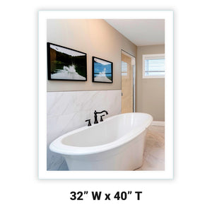 "Side-Lighted LED Bathroom Vanity Mirror: 32"" Wide x 40"" Tall - Rectangular - Wall-Mounted"