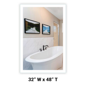 "Side-Lighted LED Bathroom Vanity Mirror: 32"" Wide x 48"" Tall - Rectangular - Wall-Mounted"