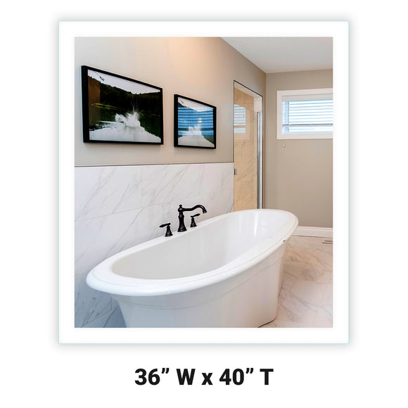 LED Bathroom Vanity Mirror Rectangular Side Lighted 36x40 A