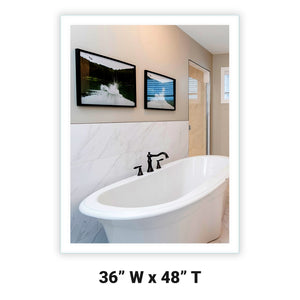 "Side-Lighted LED Bathroom Vanity Mirror: 36"" Wide x 48"" Tall - Rectangular - Wall-Mounted"