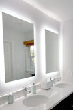 "Side-Lighted LED Bathroom Vanity Mirror: 40"" Wide x 44"" Tall - Rectangular - Wall-Mounted"