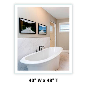 "Side-Lighted LED Bathroom Vanity Mirror: 40"" Wide x 48"" Tall - Rectangular - Wall-Mounted"