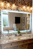 "Side-Lighted LED Bathroom Vanity Mirror: 48"" x 44"" - Rectangular - Wall-Mounted"