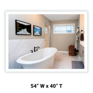 "Side-Lighted LED Bathroom Vanity Mirror: 54"" Wide x 40"" Tall - Rectangular - Wall-Mounted"