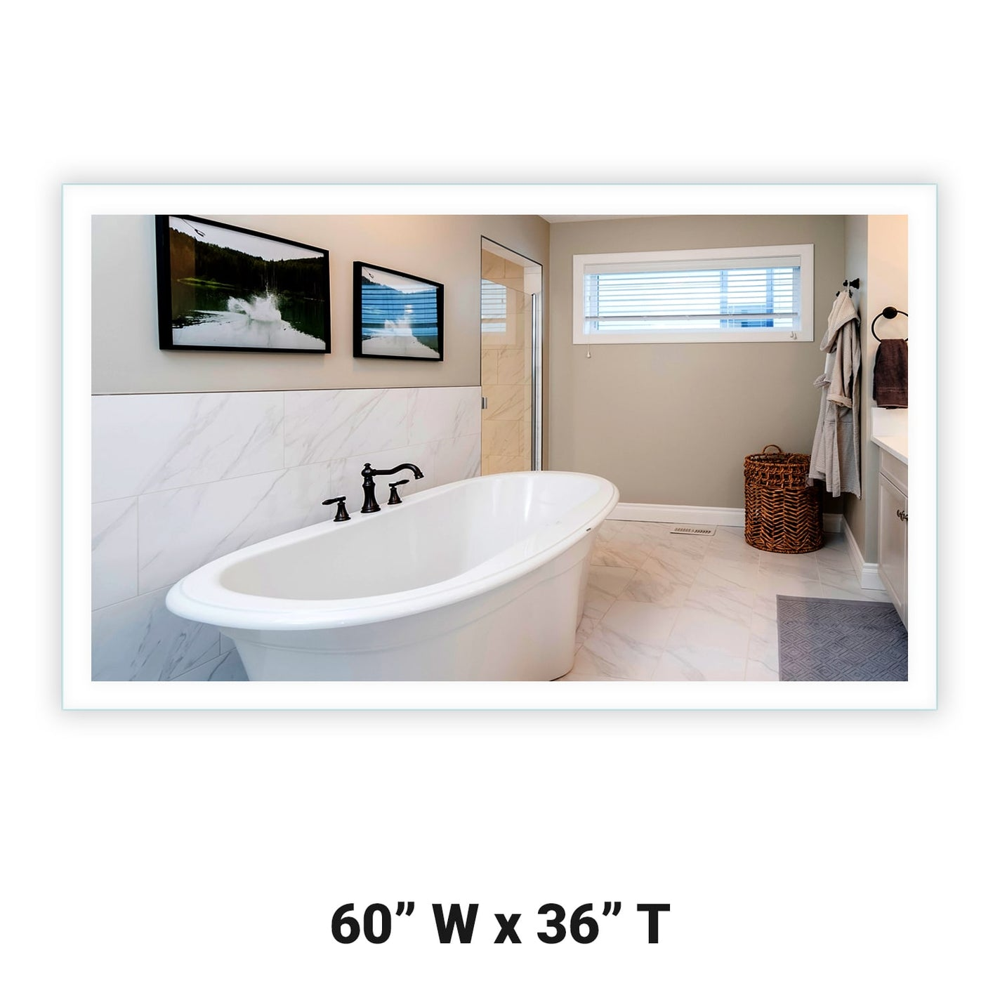 Side Lighted Led Bathroom Vanity Mirror 60 X 36 Rectangular