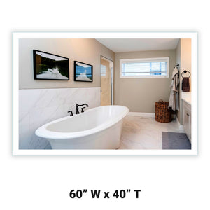 "Side-Lighted LED Bathroom Vanity Mirror: 60"" x 40"" - Rectangular - Wall-Mounted"