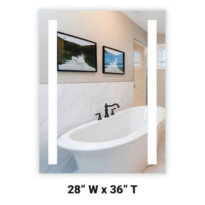 "Front-Lighted LED Bathroom Vanity Mirror: 28"" Wide x 36"" Tall - Rectangular - Vertical LED Bars - Wall-Mounted"