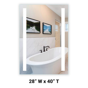 "Front-Lighted LED Bathroom Vanity Mirror: 28"" Wide x 40"" Tall - Rectangular - Vertical LED Bars - Wall-Mounted"