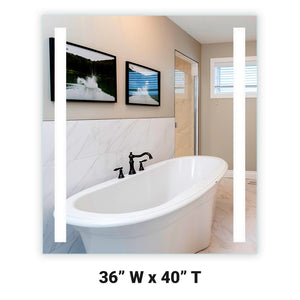 "Front-Lighted LED Bathroom Vanity Mirror: 36"" Wide x 40"" Tall - Rectangular - Vertical LED Bars - Wall-Mounted"