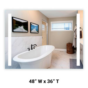 "Front-Lighted LED Bathroom Vanity Mirror: 48"" Wide x 36"" Tall - Rectangular - Vertical LED Bars - Wall-Mounted"