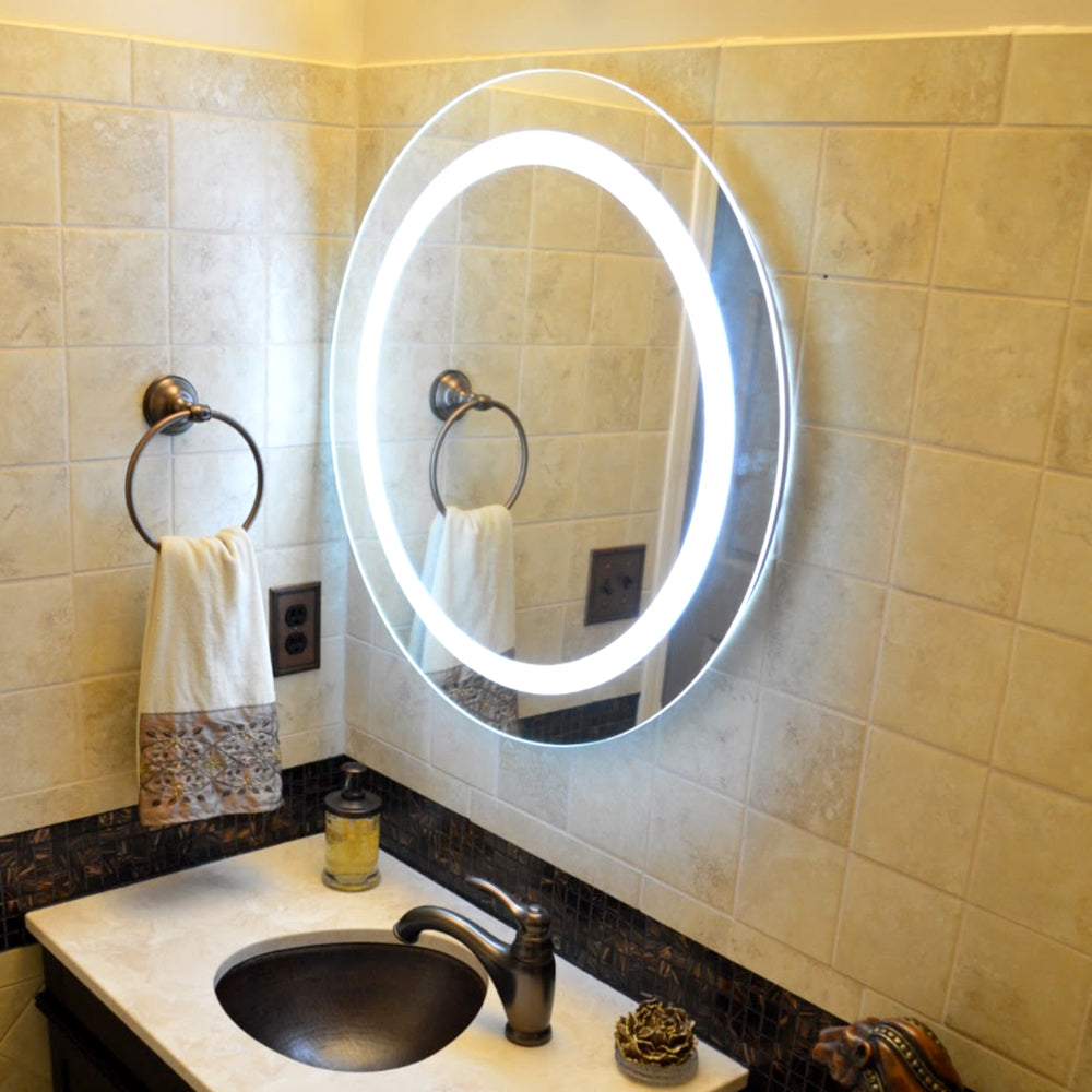 Front Lighted Led Bathroom Vanity Mirror 36 X 36 Round Mirrors Marble