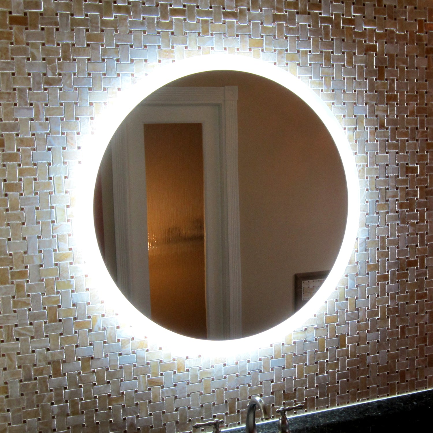 Side Lighted Led Bathroom Vanity Mirror 44 X 44 Round Mirrors