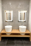 "Lighted LED Bathroom Mirror Medicine Cabinet: 16"" x 30"" - Flush-Mounted - Hinged on Left - 6,000 Kelvin"