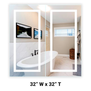 "Lighted LED Bathroom Mirror Medicine Cabinet: 32"" x 32"" - Flush-Mounted - Hinged on Left And Right - 6,000 Kelvin"