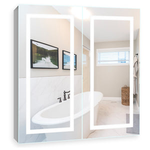 "Lighted Twin-Door LED Bathroom Mirror Medicine Cabinet: 32"" Wide x 32"" Tall - Surface-Mounted - Hinged on Left and Right - 6,000 Kelvin"