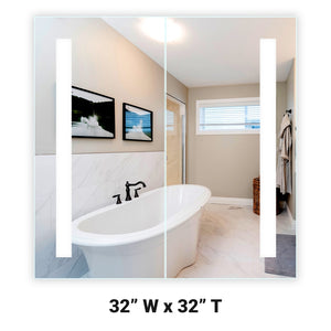 "Lighted Twin-Door LED Bathroom Mirror Medicine Cabinet: 32"" Wide x 32"" Tall - Flush-Mounted - Vertical LED Bars - 6,000 Kelvin"