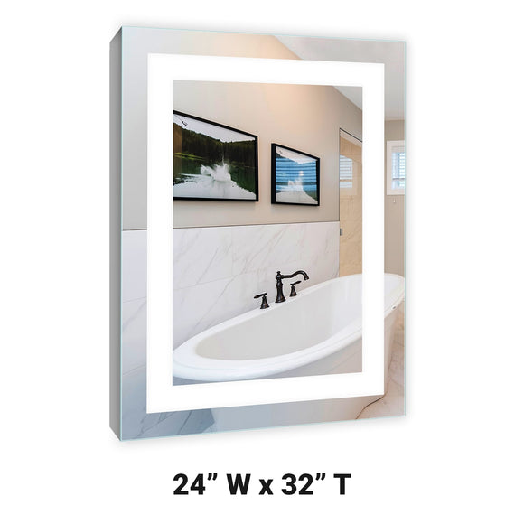 LED Lighted Mirrored Surface Mounted Medicine Cabinet 24x32 LH 6000K A